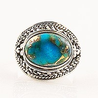 Blue Copper Turquoise East West Sterling Silver Ring