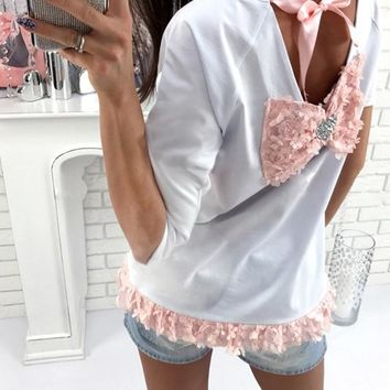 Open Back Flower Bowknot Lace Up Half Sleeves T-shirt
