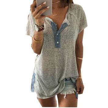 RWL BOUTIQUE Women Loose Casual Button Blouse T Shirt Tank Tops