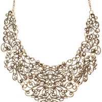 Gold Metal Filigree Statement Bib Necklace by Charlotte Russe