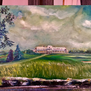 "Fine Art ""Newport Country Club in August,"" Oil on Board"