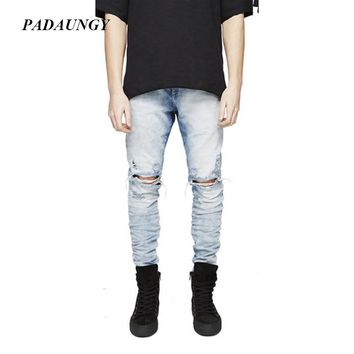 PADAUNGY Justin Bieber Jeans Hole Ripped Joggers Pencil Slim Fit Jean Homme Casual Jeans Runway Denim Pants Motorcycle Jogger
