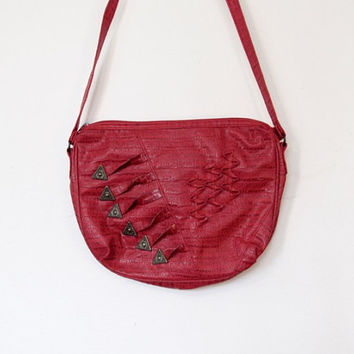 Vintage 1980s Emporio Gitano Rocker / New Wave Red Vinyl Purse / Festival Bag