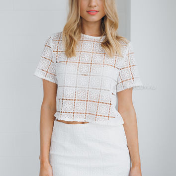 fia lace two piece - white