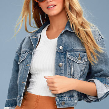 Destroyed Medium Wash Cropped Denim Jacket