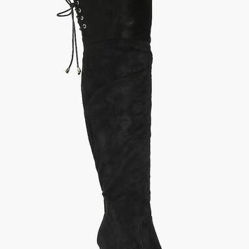 Lexi Lace Back Over The Knee Boot | Boohoo