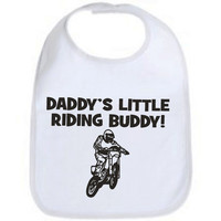 Daddy's little riding buddy dirtbike motocross cool custom  baby infant bib color choice pink blue black white shower  gift idea