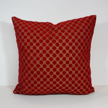 Red Dots Chenille Pillow Cover, Throw Cushion Cover, 18 x 18, Decorative Pillow Cushion