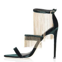RAINE Chain Skinny Velvet Sandals - Green