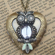 Steampunk Owl 60601 Locket Necklace Vintage Style by sallydesign