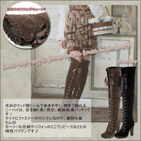 ニーハイブーツ / knee high boots and lace-up boots / ruffle / knee high boots / boots / lace-up / suede / lace-up / heel / women's レースアップフリルフェイクスエードニーハイ boots