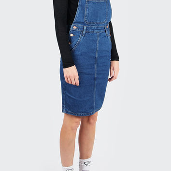 All Over It Dungarees Dress - blue