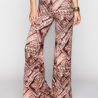 Full Tilt Diamond Ethnic Print Womens Wide Leg Pants Burgundy  In Sizes