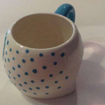 Ceramic OWL Mug Cup - Coffee Tea or decoration - Kitchen Vessel Large  Cup Turquoise  om