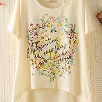 Cute Floral Hoop Print T-shirt  GDB462 from topsales