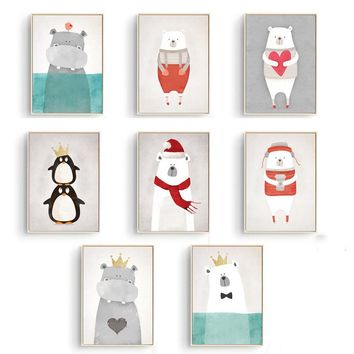 Mordern Nordic Cute Animals Bear Hippo Penguins A4 Print Poster Kids Bedroom Wall Picture No Frame Canvas Painting Home Decor