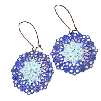 Turquoise Filigree Earrings - Boho Earrings - Filigree Jewelry - Lace Earrings - Long Earrings - Bohemian Earrings - Moroccan Earrings