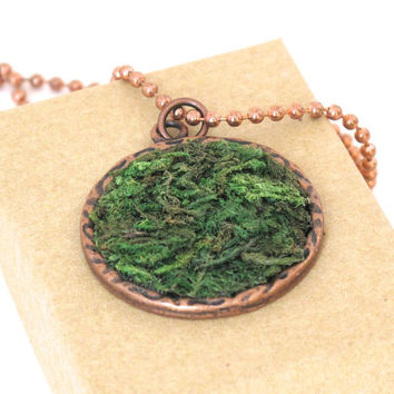 Moss Necklace, Terrarium Necklace, Terrarium Jewelry, Eco Friendly, Garden Gift, Plant Jewelry, Earth Day