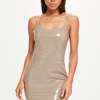 Missguided - Nude Vinyl Strappy Bodycon Dress