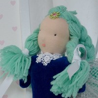 Fairy doll, Fairy wings, Steiner doll, Hand made doll, Waldorf doll, One of a kind doll, Blue hair doll, Rag doll, Natural fiber doll, Pop