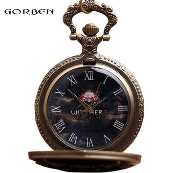 Pocket Watch Quartz Fob Watches With Chain Necklace Vintage Anime Retro The WITCHER 3 WILD HUNT Mens Locket Pendent Relogio 2018