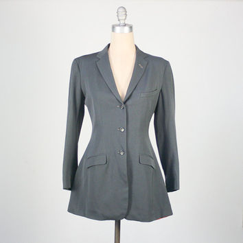 vintage 40s gray gabardine equestrian riding jacket