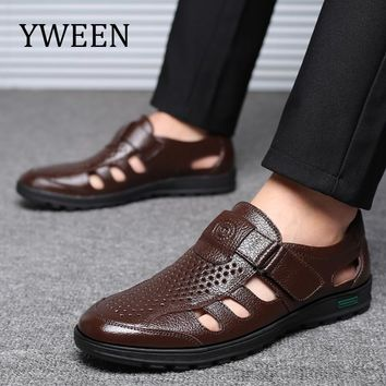 YWEEN Brand mens sandals genuine leather sandals outdoor casual men leather sandals for men Men Beach shoes