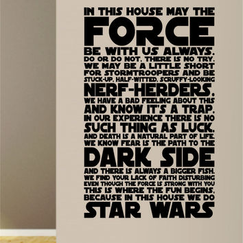 In This House Star Wars Quote Decal Sticker Wall Vinyl Decor Art Movies Family Home Rules Cute Funny Force Yoda Luke Skywalker