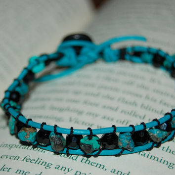Perfect Gift For Her -- Turquoise Beads and Swarovski Crystal Bead in Jet Leather Bracelet in Turquoise