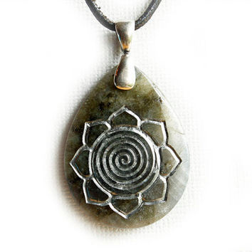 Spiral Lotus Necklace - Engraved Stone Pendant - Purity of Mind, Body & Soul - Labradorite