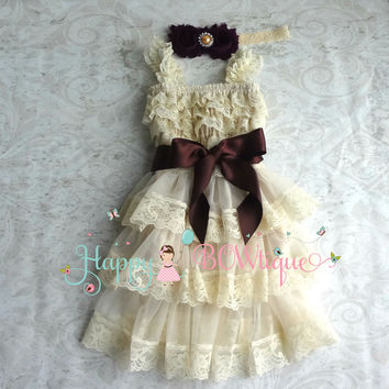 Rustic Flower girl dress / Champagne PlumTier Dress set
