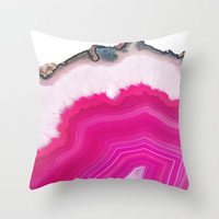 Pink Agatha Slice Throw Pillow by Cafelab