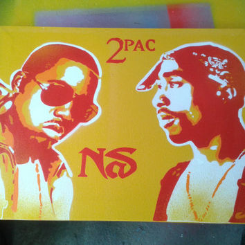 Tupac v Nas painting,stencil art,spray paints,canvas,hip hop paintings,pop art,yellow,red,orange,rap,New York,Los Angeles,American,music,art
