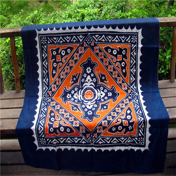 Handmade Batik Indian Bohemian Tapestry, Mandala Wall Hanging, Hippie Psychedelic, Dorm Bed sheet (100% PREMIUM QUALITY).