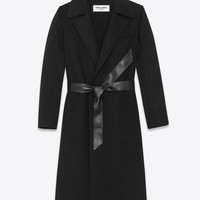 SAINT LAURENT PEIGNOIR COAT IN BLACK DOUBLE FACED WOOL AND CASHMERE | YSL.COM