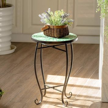 Giantex Outdoor Indoor Accent Table Plant Stand Scheme Garden Steel Green  Home Furniture OP3552GN