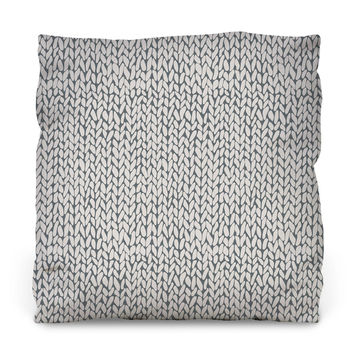 Hand Knit Grey Outdoor Throw Pillow