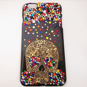 Skull Bling Phone Case Cell Phone Cover for iPhone 6 Cover iPhone 7 Cases iPhone 6 Plus Cell Phone Black Phone Case