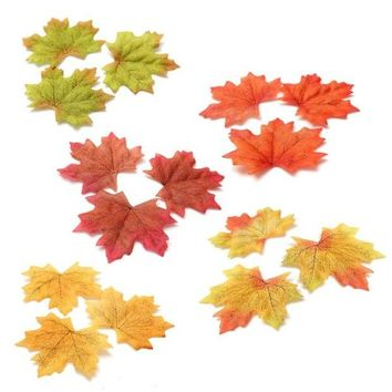 ONETOW 100Pcs Maple Leaves Fall Leaf  Wedding Craft Art Scrapbook Party Decor Ornament = 1933134916