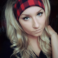 Classic Red & Black Plaid Tartan headband