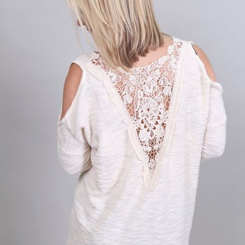 Crochet Back Cold Shoulder Sweater