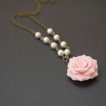 Polymer Clay Pale Pink Rose Necklace. Pearl Necklace. White Jewelry. Flower Jewelry. Antique Brass