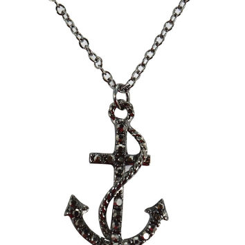 Nautical Navy Crests Fouled Anchor with Crystals Fashion Necklace