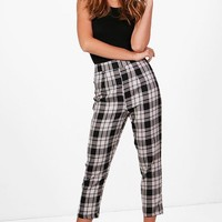 Nicole Woven Large Check Slim Fit Trousers | Boohoo