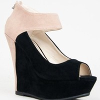 Bamboo SMOOCH-37 Colorblock Platform Wedge Heel Pump