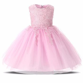 2017 Summer Lace Kids Fairy Dresses For Baby Girl First Birthday Party Wear Infant Christening Gown Dress Girl Baby Kid Clothing