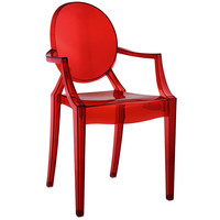 Philippe Starck Style Louis Ghost Arm Chair Red