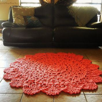 Crochet Doily Rug, floor, Coral- Salmon- Alpaca- Lace- large area rug, Cottage Chic- shabby home decor- round rug, French Country Decor