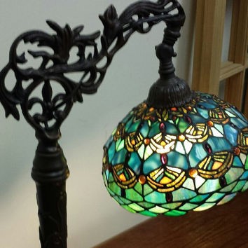 Elegant Tiffany Style Decorative Stained Glass Bridge Table Lamp / Decorative Bronze Metal Base/ Reading Lamp/ Desk Lamp..Beautiful!