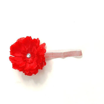 Chevron headband with red flower, stretch band, rhinestone center, baby girl,  girl's, women's,